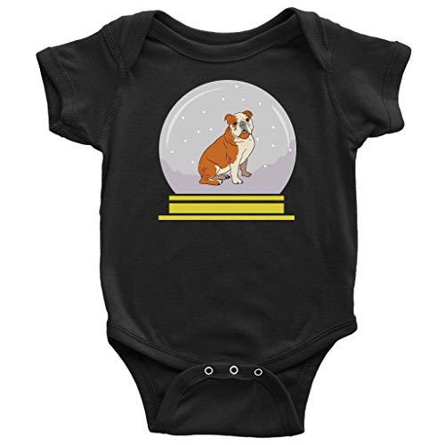 Snow Globe Bulldog Baby Bodysuit Romper, Funny Gifts for Dog Lovers, Black, 12M
