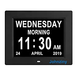 Johnziny Digital Calendar Day Clock- 8 Alarms Auto-Dim Battery Backup Extra Large Dementia Alzheimer Memory Loss Vision Impaired Alarm Clock for Seniors Elderly