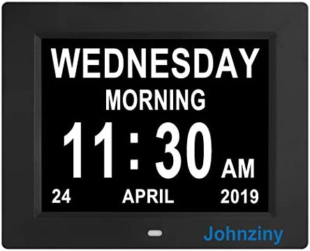 Johnziny Digital Calendar Day Clock- 8 Alarms Auto-Dim Battery Backup Extra Large Non-Abbreviated Dementia Clocks Alzheimer Memory Loss Vision Impaired Alarm Clock for Seniors Elderly