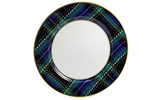 Fitz & Floyd Tartan Plaid Blue Green Dinner Plate 10.25