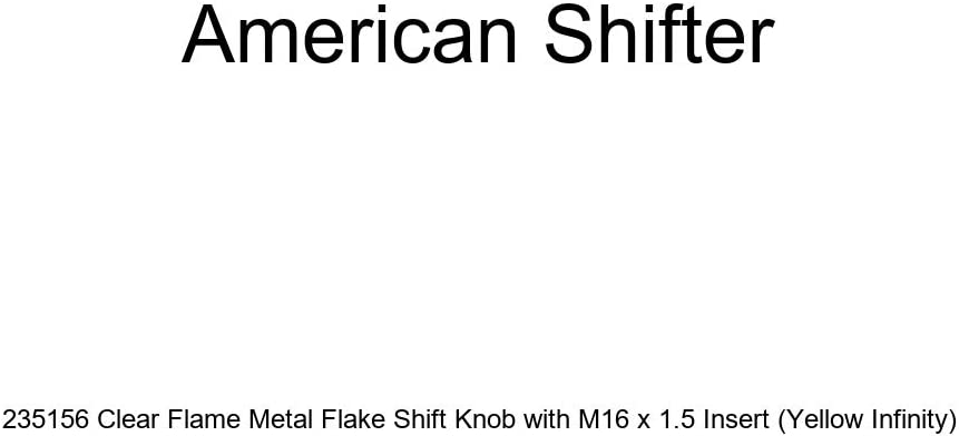 Yellow Infinity American Shifter 235156 Clear Flame Metal Flake Shift Knob with M16 x 1.5 Insert