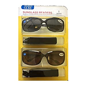 Image Readers Womens 2 Pack Trendy Frame Reading Sunglasses Glasses Block Out Ray UV and Gamma w/ +2.50 Magnification Viewing Pleasure Black Brown W/ Carry Pouch Driving Outdoor Safe Curved Lens