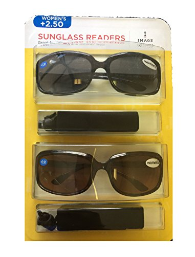 Image Readers Womens 2 Pack Trendy Frame Reading Sunglasses Glasses Block Out Ray UV and Gamma w/ +2.50 Magnification Viewing Pleasure Black Brown W/ Carry Pouch Driving Outdoor Safe Curved - Sunglasses W/bifocals