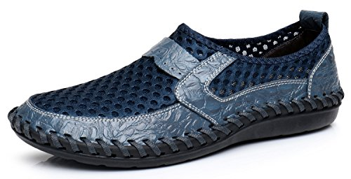 TASOGEN Summer Men's Mesh Breathable Walking Loafers,Outdoor Lightweight Slip-on, Mesh Casual Shoes,Stitching Honeycomb Hiking Shoes Durable Soft Leather-Blue 44