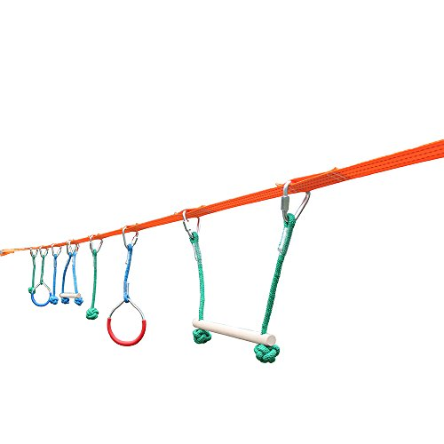 Ninja Warrior Slackline Kit With Training Line For Backyard, Park, Party - Swing Monkey Bar Playground Equipment With 7 Hanging Obstacle Course Set For Kids Adults, With Tree Protector & Carrying Bag