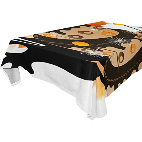 WIHVE Rectangle Tablecloth Halloween Witches Cake Solid Polyester