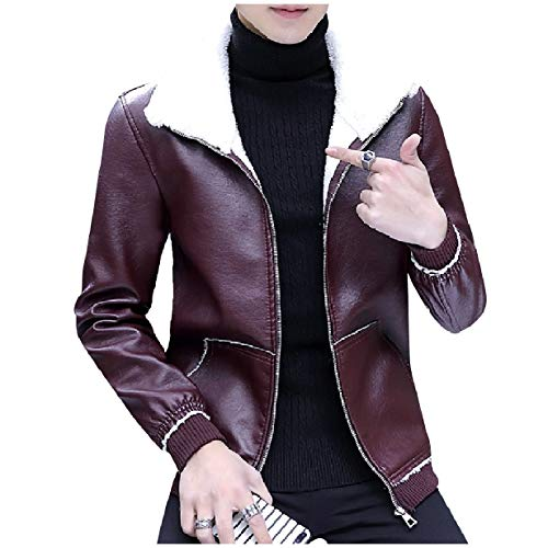 Thickened Leather Red Oversized Turn Pu Jacket Down Zip MogogoMen Collar Up Wine Ptg7H8WnW