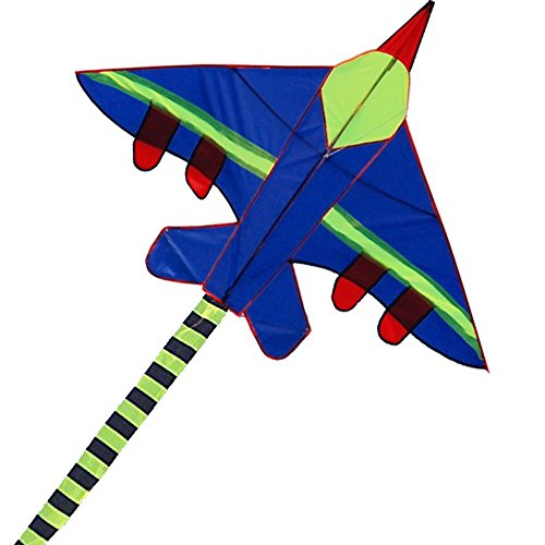 Hengda Kite Long Tail Cartoon Fighter Kites the Plane Kite for Children 1.5m with Flying Line-Blue