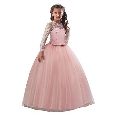 c5a4bdf51 Amazon.com: Ta-weo Girls Off Shoulder Bowknot Princess Dress Satin Flower  Girl Wedding Costume Piano Performance Clothing 5-14 Years Old: Clothing