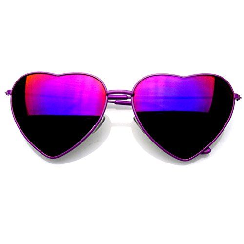 Premium Womens Cute Metal Frame Heart Shape Sunglasses (Flash Mirror | Purple, 58)