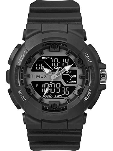 Timex Men's TW5M22500 DGTL 50mm Sporty Combo Black/Negative Resin Strap Watch (Black Strap Resin)