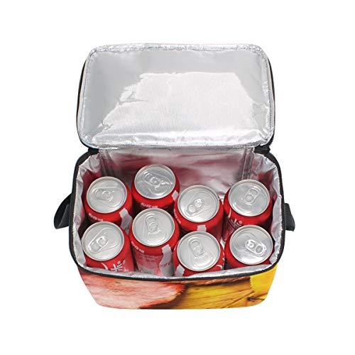à lunch nique d'automne à Sac Jaune pique Boîte Cooler Feuilles déjeuner Fond Bandoulière Rouge pour f6xqwOf4