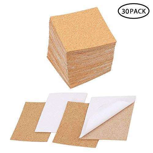- AUOKER 30 Pcs Cork Adhesive Sheet, 4x4 Inch Self Sticky Cork Gasket/Tile/Coaster Backing Square Sheet - 2mm, Natural and Safe, Thermal Insulation, Anti-Skid, Flexible