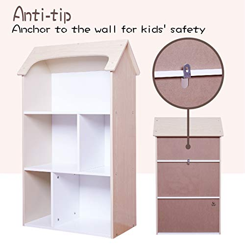 Toffy & Friends Kids Natural Wooden Bookshelf with Storage,Dollhouse Kids Room Organizer Environmentally Friendly UV Paint Non-Toxic Lead - Doll House Bookshelf