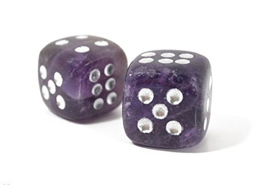 Queenlink Natural Hand Carved Gemstone Various Crystal Healing Lucky Dice 15mm (Amethyst)