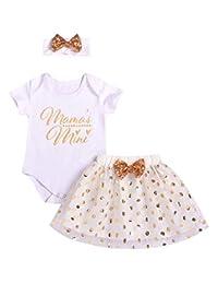 SUPEYA Baby Girls Birthday Outfits Mama Print Shirt Polka Dots Mesh Tutu Skirt Set