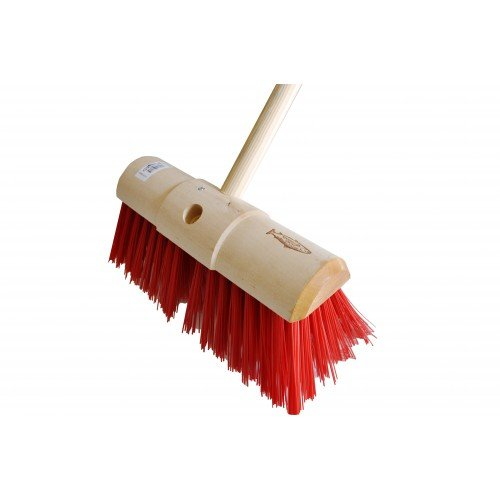 Janitorial Express HN137 Complete Unit, Yard Brush, Pvc with Fitted Handle, 13', Red 13