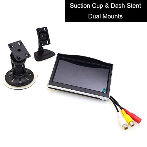 5' Car Monitor, E-KYLIN 12-24V Wide Input Truck/In-Car TFT LCD Screen Suction Cup & Dash Stand Dual Mounting Bracket 2 RCA Channel for Backup Camera/Rear view/DVD/Media Player