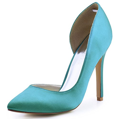 ElegantPark HC1601 Women's Pointed Toe High Heel D'Orsay Satin Dress Pumps Turquoise US 6 (Sexy Satin Pump)