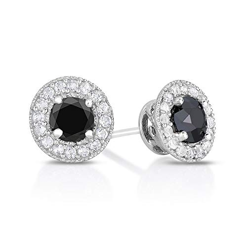 Natalia Drake Genuine Black Diamonds and White Topaz Halo Stud 2.00 TGW Sterling Silver Earrings