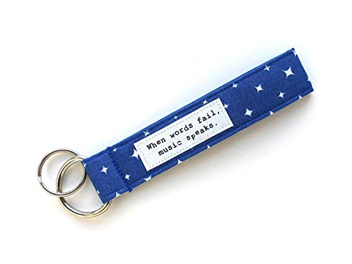 Music Wrist Lanyard - When Words Fail, Music Speaks- Wristlet Keychain- Made from Organic Cotton
