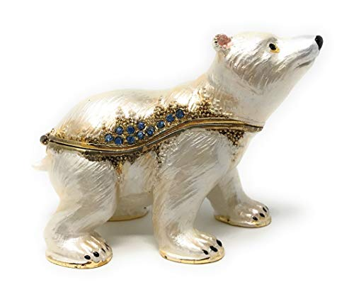 Kubla Crafts Enameled Polar Bear Cub Trinket Box, Accented with Austrian Crystals, 3 Inches Long (Bear Hinged)