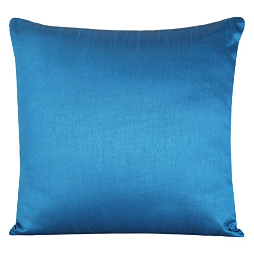 The White Petals Set of 2 Azure Blue Art Silk Pillow Covers, Plain Silk Cushion Cover, Solid Color Azure Blue Throw Pillow, (20x20 inches, Azure Blue) Silk Square Cushion