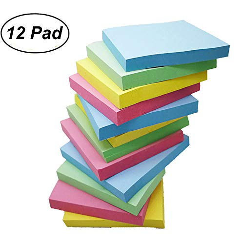 Colorsky Sticky Notes Self-Stick Memo Post Notes, 12 Pads/Pack, 3 inch x 3 inch, 100 Sheets/Pad, 4 Colors