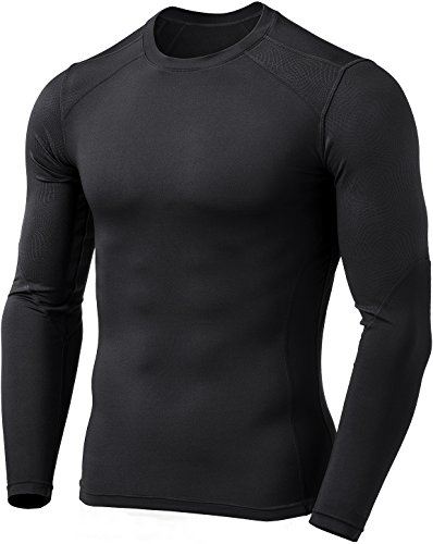 TM-YUD41-BLK_Large Tesla Men's Emboss Round Thermal Long Shirt Wintergear Compression YUD41 (Hiking Clothing)