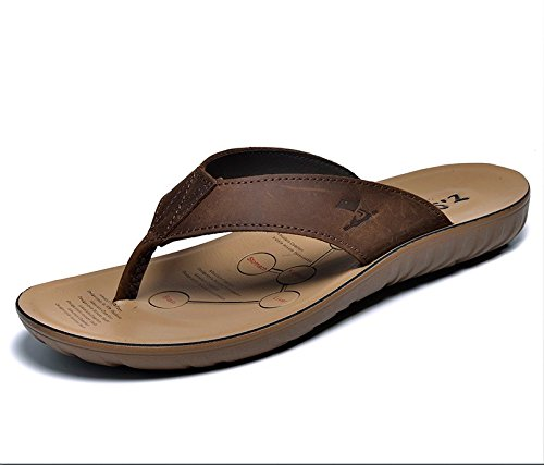 Xing Lin Sandalias De Hombre Zapatos De Hombre Grande Flip-Flops De Verano Al Aire Libre Para Hombres Sandalias Pantuflas Antideslizantes Para Hombres Calzado De Playa Marea brown