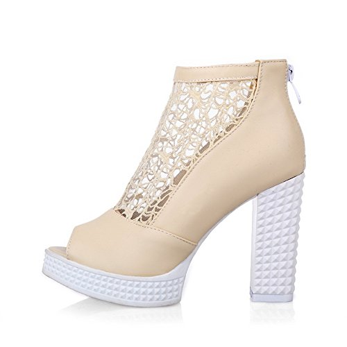 Sandals Peep Zipper WeenFashion High Pu Women's Heels Solid Beige Toe paqH8Bw