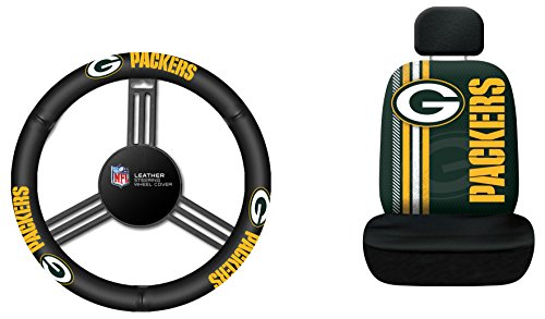 Fremont Die NFL Green Bay Packers Rally Seat Cover with Leather Steering Wheel Cover, One Size, Black