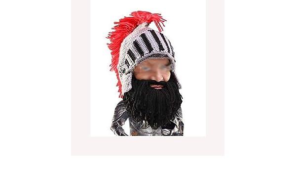 JUFENG Knight Beard Beanie - Casco De Punto Divertido Y Barba Y ...