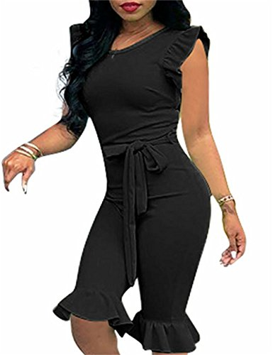 Shinfy Women's Solid Color Rompers Flouncing Sleeve with Belt Five Pants Sets Outfits S-XXL