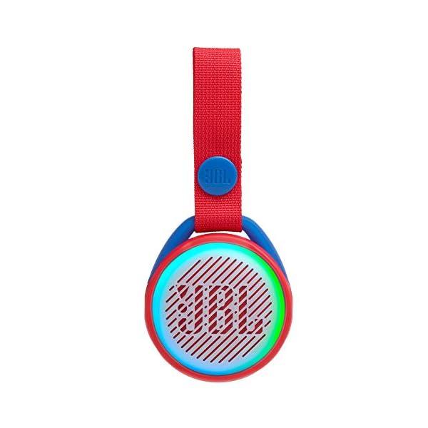 JR POP JBL - Enceinte portable pour enfants - Bluetooth & Waterproof - Avec modes lumineux multicolores & autocollants - Autonomie 5 hrs - Rouge 1
