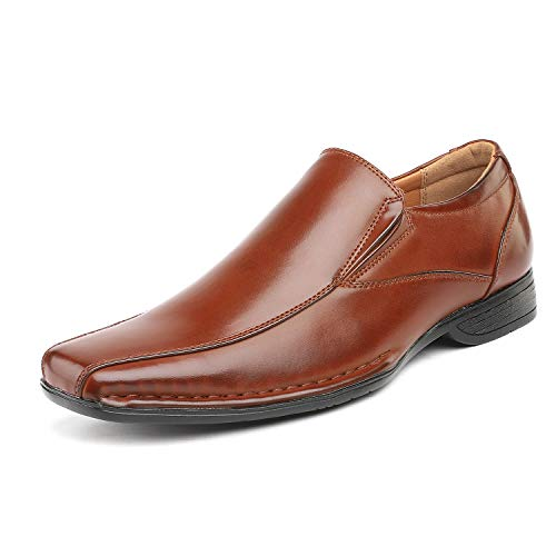 Brown Dress Shoes Loafers - Bruno Marc Men's Giorgio-1 Brown Leather Lined Dress Loafers Shoes - 9 M US