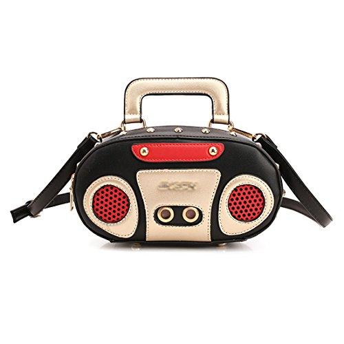 LUI SUI-Unique Retro Radio Design Shoulder Bag Newest Rock Style Champagne Women handbag Cr43 (Small Black) (Retro Purse Handbag)