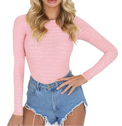 PALINDA Women's Long Sleeve Striped Basic Solid Round Neck Bodysuit Stretchy Leotards (S, Pink)