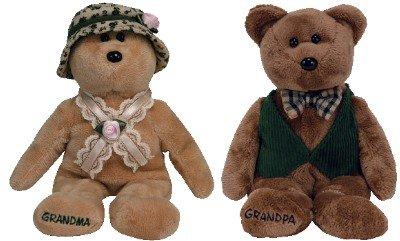 TY Beanie Babies - NANA & PAPA the Grandparents Bears ( Set of 2 (Nana Teddy Bear)