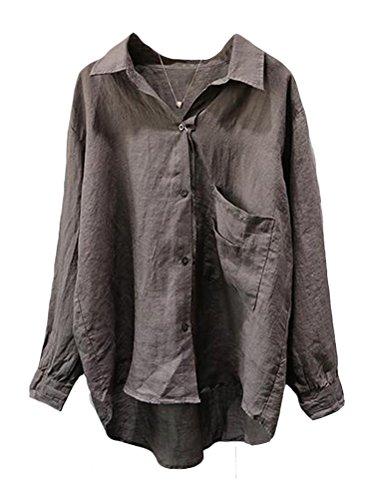 Minibee Women's Casual Cotton Linen Blouse High Low Shirt Long Sleeve Tops (L, Gray)