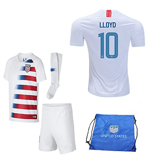 USA Soccer Team Christian Pulisic Carli Lloyd Alex Morgan Replica Kid Jersey Kit : Shirt, Short, Socks, Soccer Bag (C. Lloyd White Blue, Size 24 (7-8 Yrs Old Approx.))