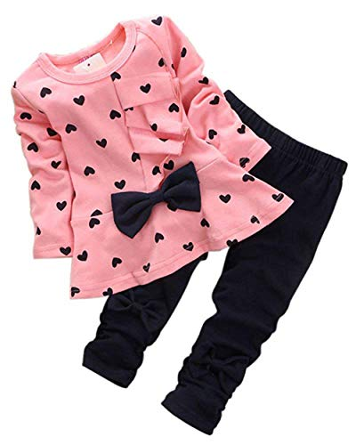 M RACLE Cute Little Girls' 2 Pieces Long Sleeve Top Pants Leggings Clothes Set Outfit (12-18 Months, Heart Pink)