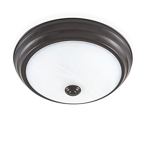 Modern Satin Fountain - Designers Fountain EVLED502D-34 Modern Satin Bronze Dimming Led Flushmount with Alabaster Glass
