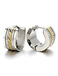Pair of Huggie Hinged Hoop Earrings for Men Women Gold Silver Two-tone