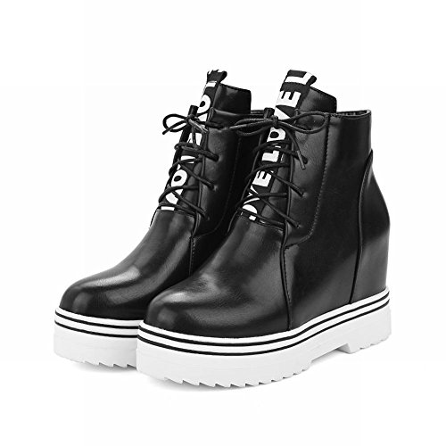 Latasa Womens Fashion Letter Print Lace up Ankle High Platform Wedges Boots Black bFc0p