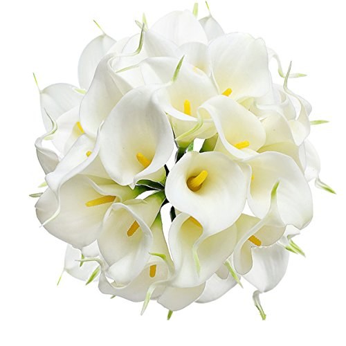 HoveBeaty Calla Lily Bridal Wedding Festival Decor Bouquet Real Touch Latex Flower Bouquet Pack of 20 (White)