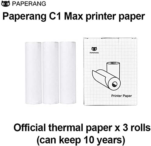 Paperang C1 Max Paper,Long-Lasting 10-Year Preservation Thermal Paper Roll,Thermal Paper Roll for Mini Printer,Non-Adhesive 4.37 x 1.18 Inch,Black on White,3-Pack