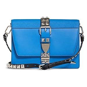 Prada Elektra Blue Calfskin Saffiano Leather Studded Crossbody Bag 1BD120