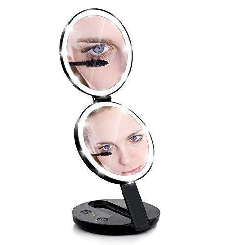 Lighted travel makeup mirror,handheld 1X/5X Vanity Mirror, Illuminated with 16 LED Lights, Small Standing Double Foldable Mirror for Eye Makeup magnified mirrors,Compact for Women Lady Girl (Black)