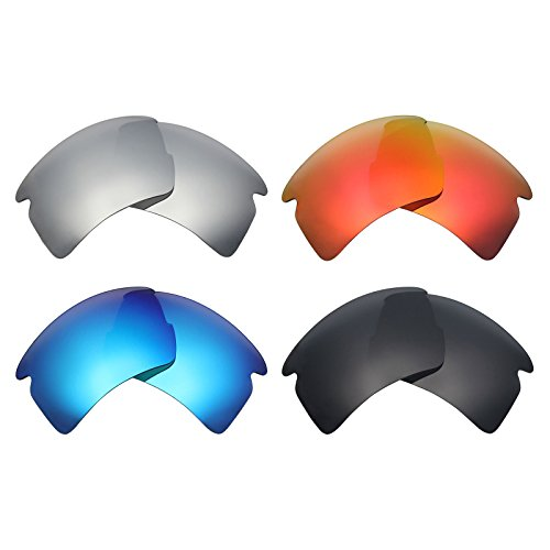 Mryok 4 Pair Polarized Replacement Lenses for Oakley Flak 2.0 XL Sunglass - Stealth Black/Fire Red/Ice Blue/Silver - Red Lenses Oakley